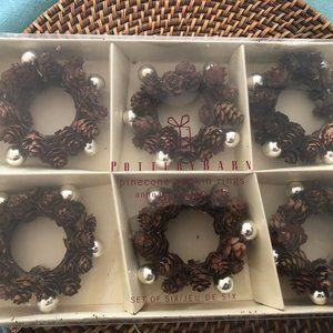 Potterybarn pine cone napkin rings (6)